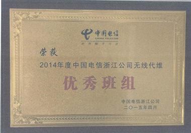 2014年度中国电信浙江公司无线代维优秀班组