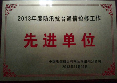 2013年度防汛抗台通信抢修工作先进单位(温州分公司)